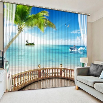 3D Curtain Balcony Coconut Tree Sea Boat Living Room or Hotel Cortians Sunshade Window Curtains Tridimensional Scenery Printing