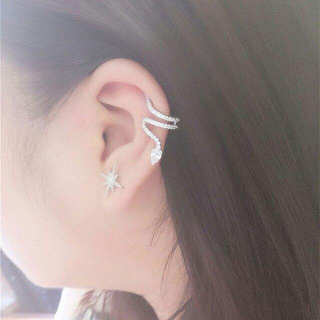 1 Pair Ear cuff Zircon Crystal Clip Earrings Without Piercing Snake Shape Silver Non Pierced Earrings.jpg 640x640 - 1 Pair Ear cuff Zircon Crystal Clip Earrings Without Piercing Snake Shape Silver Non Pierced Earrings clip earing Jewelry
