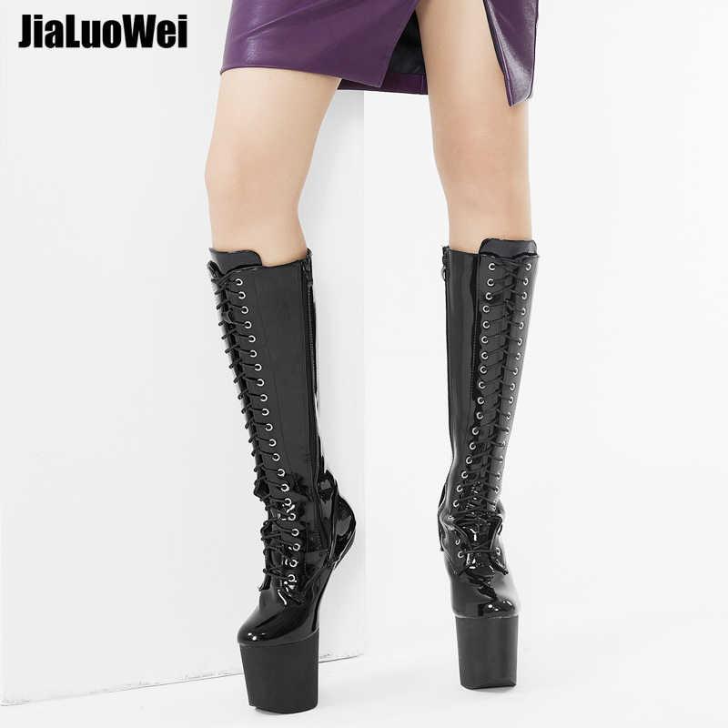 Jialuowei 8 polegadas salto alto bateu botas de casco inferior com plataforma sem calcanhar heelless sexy joelho botas altas mais tamanho 36-46