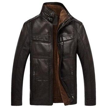 Sonbahar ve kış kaliteli erkek deri ceket sıcak iş rahat PU deri ceket artı kadife katı renk standı yaka ceket