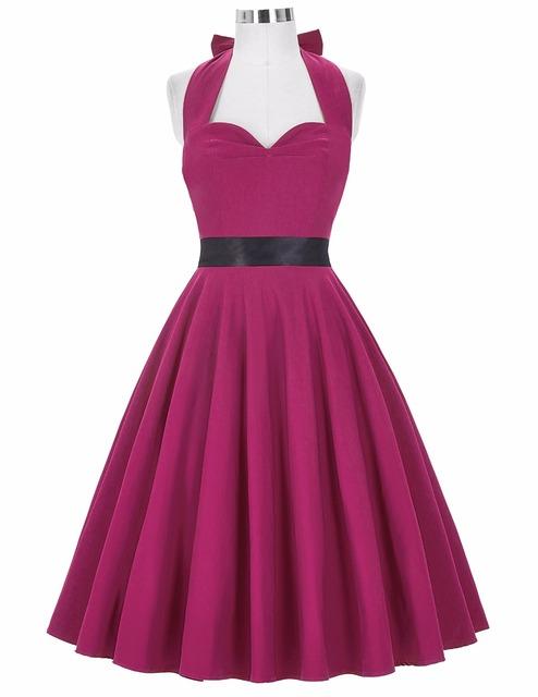 Womens Plus Size Clothing bandage Retro Style Party Vintage Sweetheart Backless Halter Nylon-Cotton Women 50s Vintage Dresses