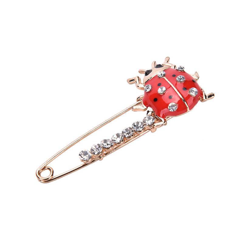 Seven-Star Merah Ladybug Bros Yang Indah dan Indah Serangga Perhiasan Jeans Korea Versi Wanita Modis 2018 Baru