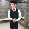 Mauchley 2017 Autumn New England Plaid suit slim Vest Mens Vest Men's Slim Fit Vest Waistcoat Male Suit Vest Social Clothes
