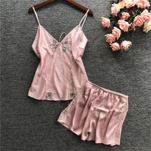 Pink Transparent Lace Sleep Lounge Pajama Set Sexy Satin Sle