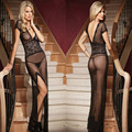 1PCS Black Sexy Long Night Gown Transparent Sheer Mesh Night Dress Erotic Long Lingerie Women Sexy Nightwear Sleepwear  WU0015