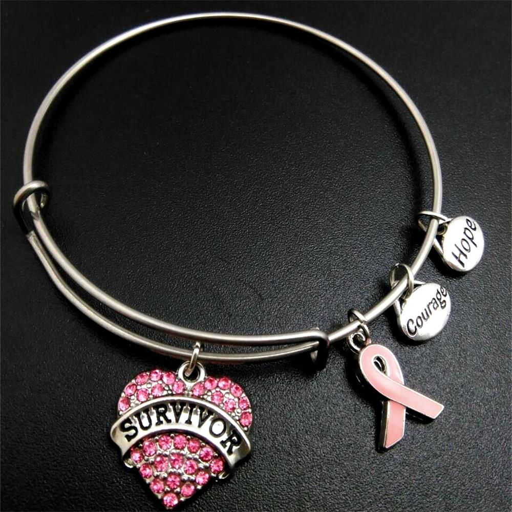 Wire Bracelets With Charms 2: My Shape Pink Ribbon Breast Cancer Survivor Charm