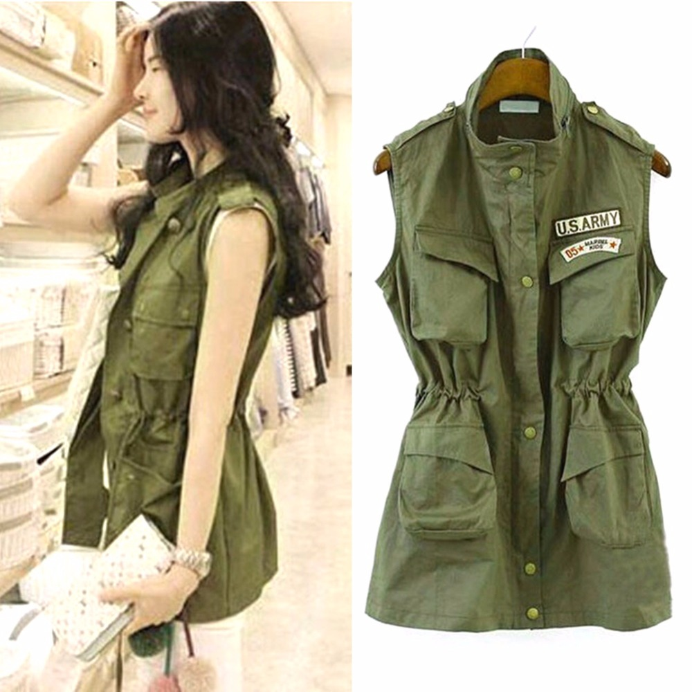 2017 Autumn Women Green Jacket Drawstring Vest Military Parka Button Trench Coat Outwear