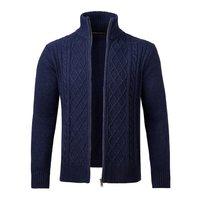 VOBOOM Navy Blue Sweater Coat Men Woolen Blend Autumn Winter Casual Zipper Knitted Slim Fitted Long Sleeve Sweaters Jacket 100