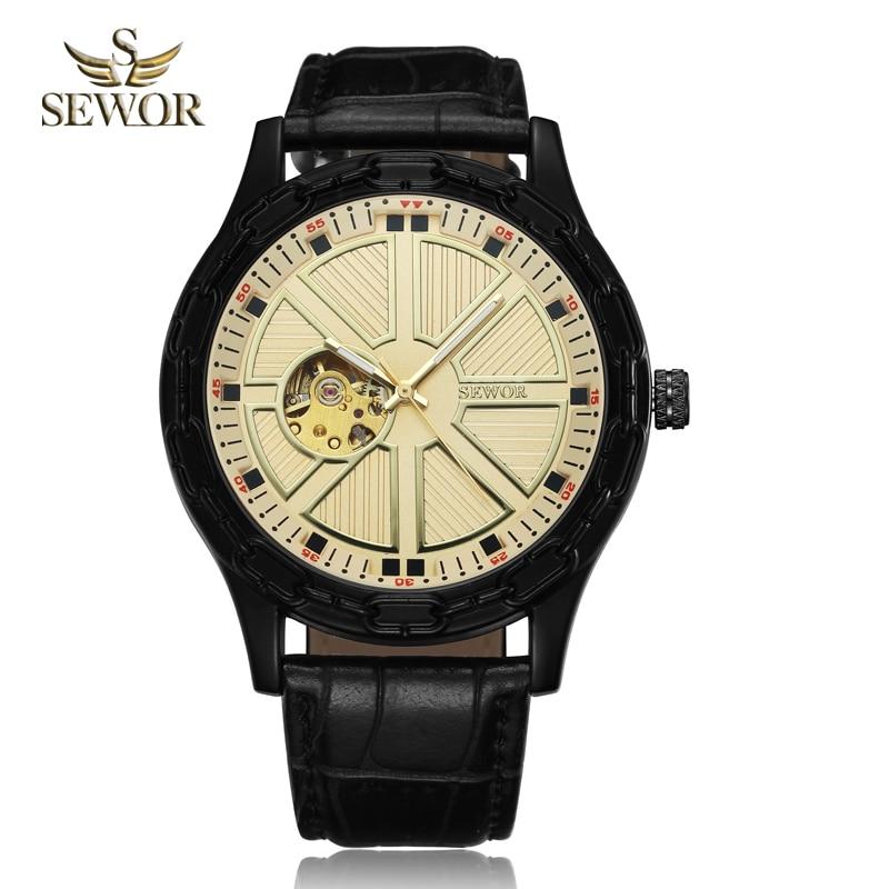 SEWOR 2019 TOP LUXURY MARKA MODA Chalet jarzma kształt GLOD BLACK - Męskie zegarki - Zdjęcie 2