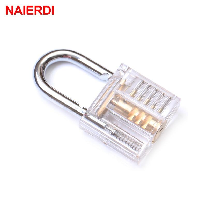 NAIERDI Locksmith Transparent Locks Pick Visible Cutaway Mini Practice View Padlock Hasps Training Skill For Furniture Hardware in Locks from Home Improvement