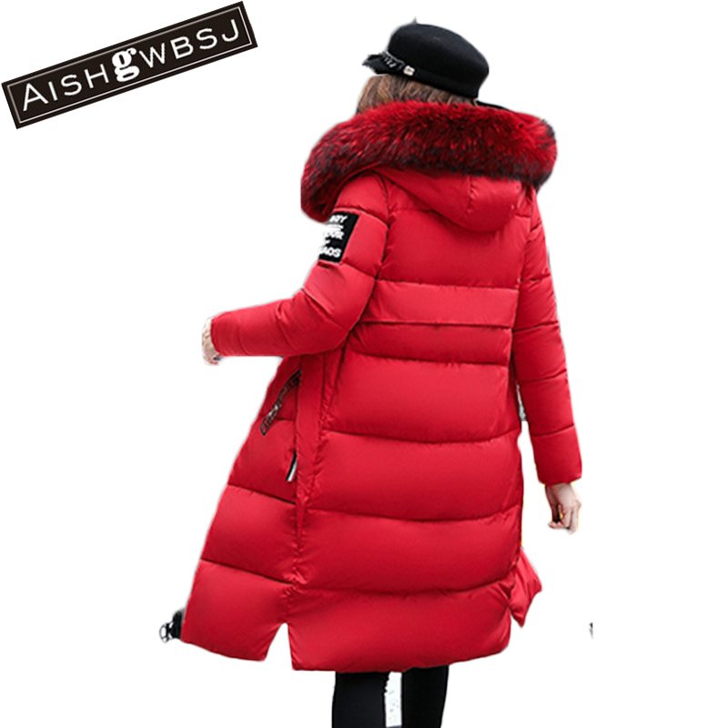 AISHGWBSJ Women Long plus size Jackets Padded-Cotton Coats Winter Hooded Warm Wadded  Female Parkas Fur Collar Outerwear PL147 new women winter cotton jackets long coats hooded fur collar parkas thick warm jacket plus size female slim outerwear okxgnz1072