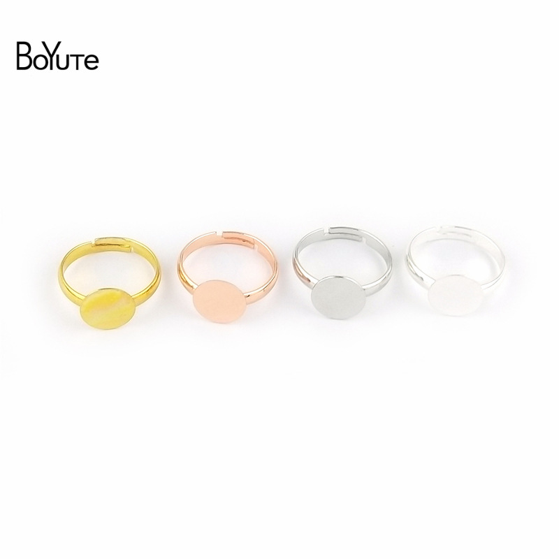 BoYuTe 30Pcs 7 Colors Plated  Round 6MM 8MM 10MM Cabochon Base Ring Setting Diy Adjustable Ring Base Jewelry Findings Components