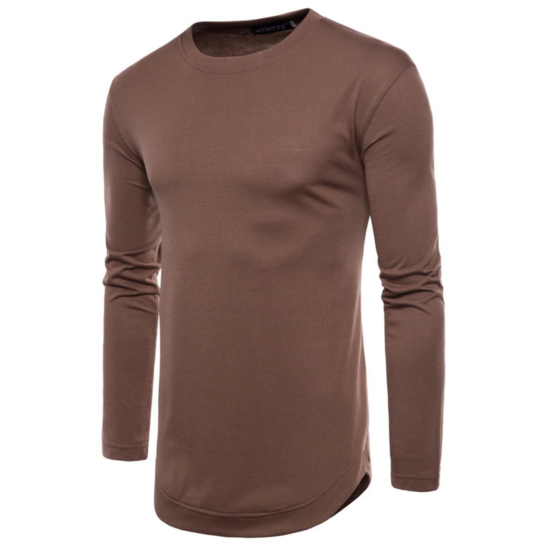 2018 Spring New Men's Casual Solid Color Long Sleeve Round Neck T-shirt fashion tshirts mens clothing shirt men