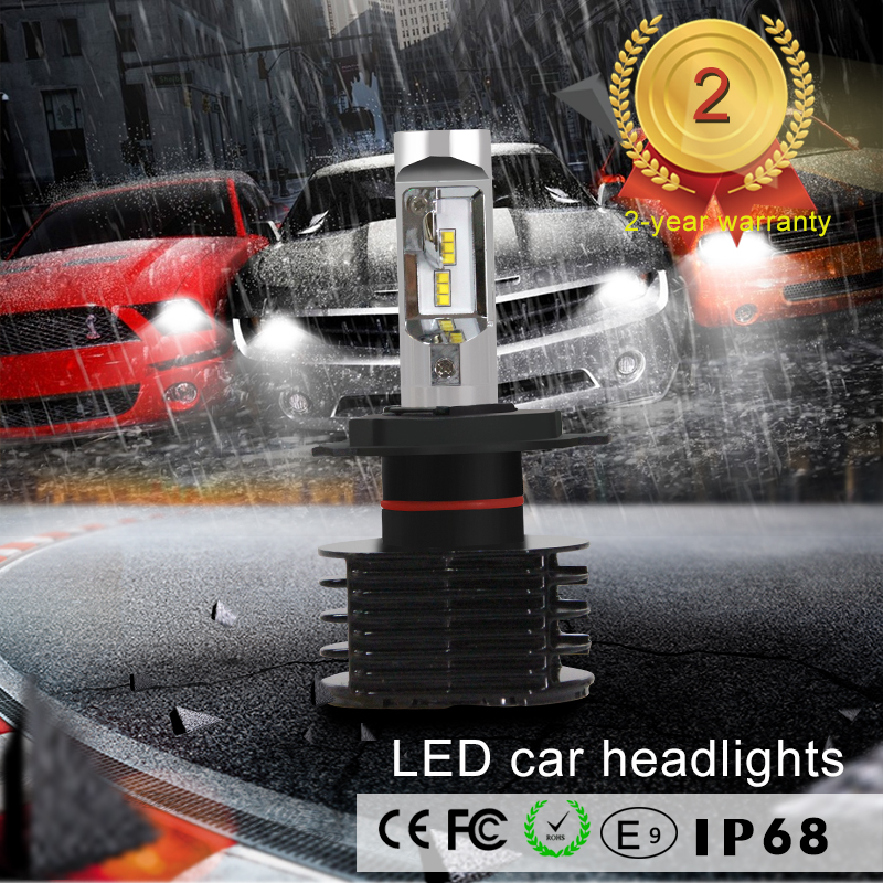 ФОТО 2016 new product KSEGA Car styling  H4 LED Auto Front Light Bulbs 35W 6000lm LED Headlamp H4 6000K COB LED H4 Car Headlights Kit