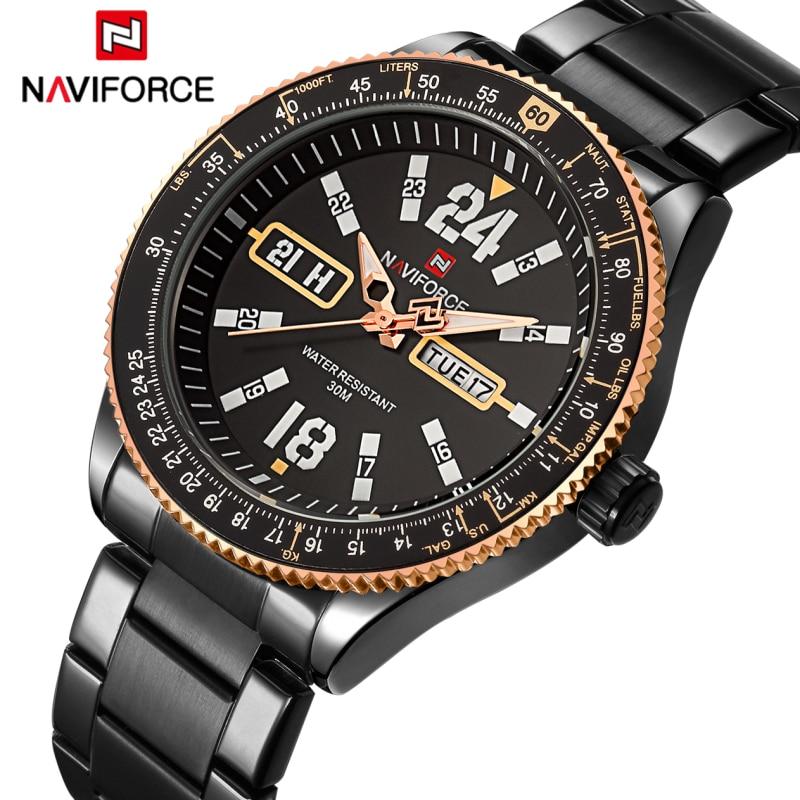 Watches Men NAVIFORCE Brand Men's Luminous Sports Quartz 30M Waterproof Watches Male Full Steel Band Auto Date Relogio Masculino