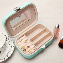 Korean Floral Print Jewelry Box Organizer Travel Portable Leather Ring Bracelet Earring Display Storage Box Case with Mirror(China)