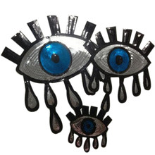 Iron on patches for clothing T shirt Women 33cm Eyes Tears Silver Sequined  Sequins T-shirt Womens Fashion Shirt Patch Clothes bc5a5272465d