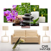 5 Piece Canvas Art Posters And Prints Vintage Picture Frame Paintings By Number Lotus Flower Canvas Painting Calligraphy Candle