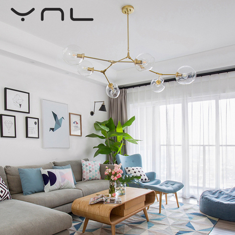 Modern Glass Ball Branching Bubble Pendant Chandeliers For Dining Room Living Room Chandelier Lighting Lustre E27 Led Lamp