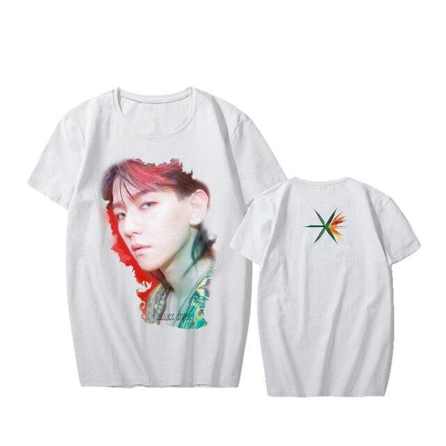 ALIPOP אופנה קוריאני KPOP EXO אלבום 4th המלחמה אמיתי הדפסת דיוקן מודאלי Tshirt חולצות T חולצה K-POP PT552