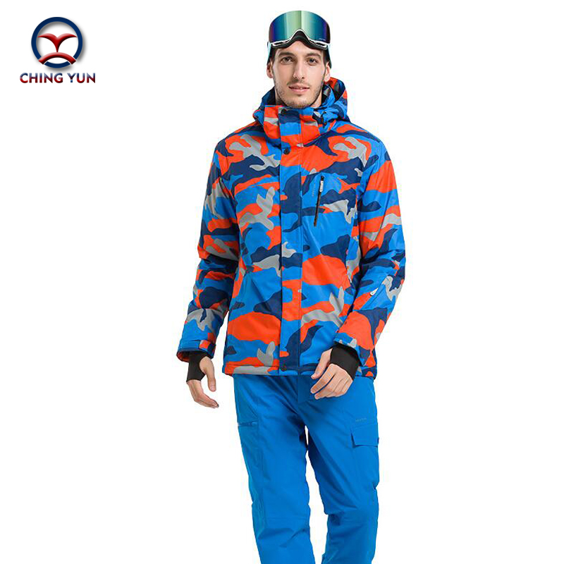 CHING YUN winter men hot patchwork cotton coat windproof waterproof thermal cotton filler jacket trousers casual