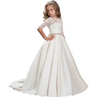 Half Sleeve Flower Girl Dresses Ball Gown Mother Daughter Dresses Lace Children Clothing Ankle Length Holy