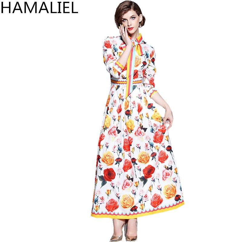 HAMALIEL Summer Women Runway Designer Maxi Long Party Dress 2018 Vintage Rose Printing Flower Tie Bow Long Sleeve Dress Vestidos