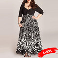 Plus Size 6Xl Woman Patchwork Long Dress 4Xl 5Xl 2017 New Summer Sexy Square Neck 3/4 Long Sleeve Print Maxi Dresses