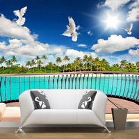 HD Dove Palm Beach Natural Scenery Mural Wallpaper Roll Comfortable Home Decorative Wall Living Room Bedroom