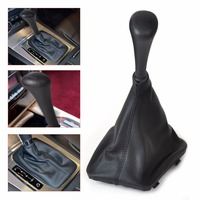 5 Speed Black Gear Stick Shift Knob PU Leather Gaiter Boot Cover For Mercedes Benz W123