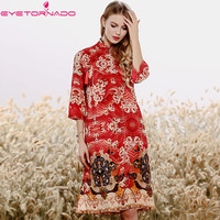 Chinese style floral print vintage silk dress summer stand collar casual loose ethnic party cheongsam dress women vestido qipao