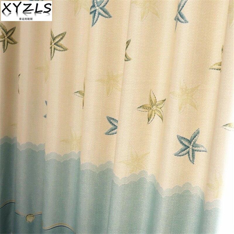 XYZLS Cartoon Seesterne Jalousien Blackout Vorhnge Sheer Tll Vorhang Fr Kinder Wohnzimmer Schlafzimmer Schatten Fenster Vorh