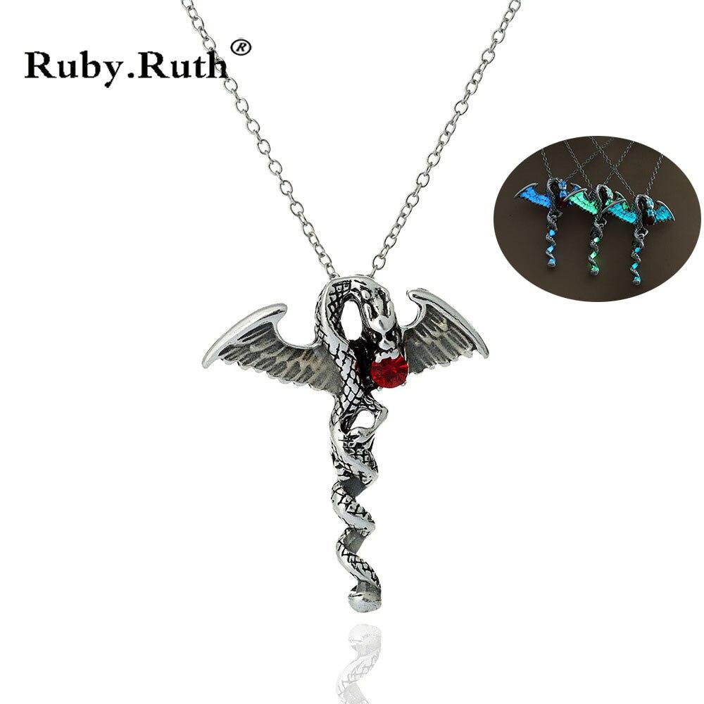 Necklaces & Pendants Punk Cross Luminous Animal Pendant Necklace Glow In The Dark Dragon Necklace Jewelry Pendant Necklaces