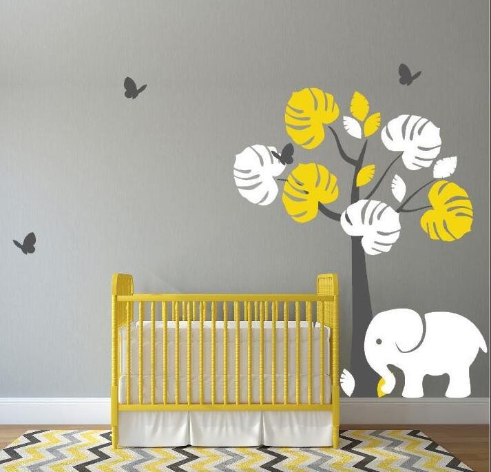 Jungle Tree Baby Girl Nursery Wall Vinyl Art Elephant and ...