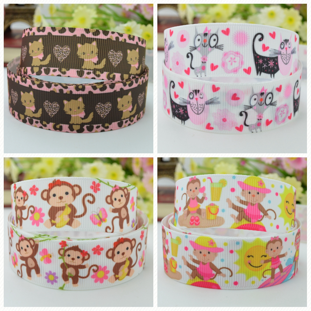 Logical Duwes 7/8 22mm 2 5 10 20 50 Yards Monkey Cat Cute Animal Printed Grosgrain Ribbon Hair Bow Diy Handmade Retail Girls' Clothing