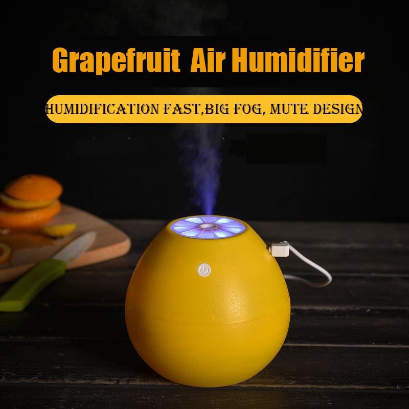 New Grapefruit Lemon Air Humidifier Big Fog Rapid Humidification Diffuser USB 400ML  LED Night Light Mist Maker Fogger