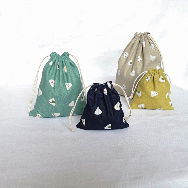 YILE 3pcs SML Drawstring Cotton Linen Gift Bag Things Sorted Pouch Print Rice Ball YM01