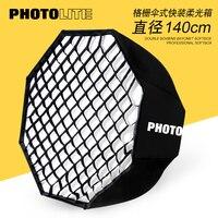 Guarda-chuva octogonal com grade 140 cm rápido-carregamento guarda-chuva dobrável portátil bowen montagem softbox com grade