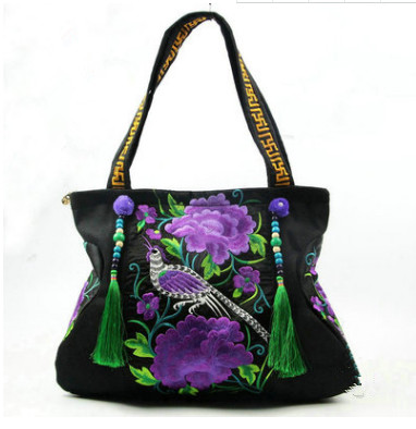 New All-match Ethnic embroidery Handbags!Hot Multi-use National tassel beads Women shoulder bag Top lady travel shopping handbag
