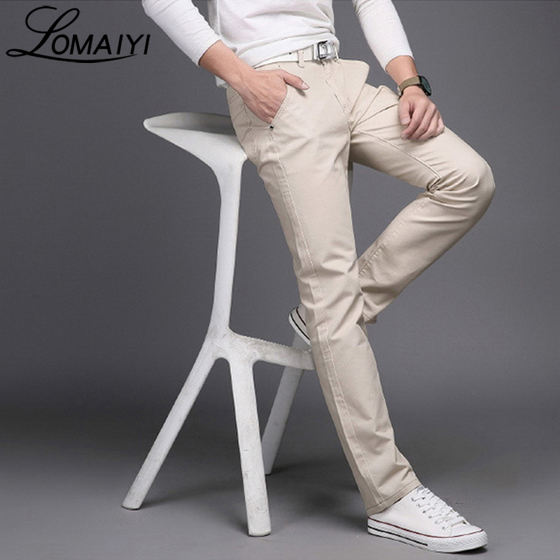 LOMAIYI 9 Colors Mens Spring Summer Casual Pants Men Simple Pure Cotton Business Trousers Male Khaki Slim Work Pants,BM143