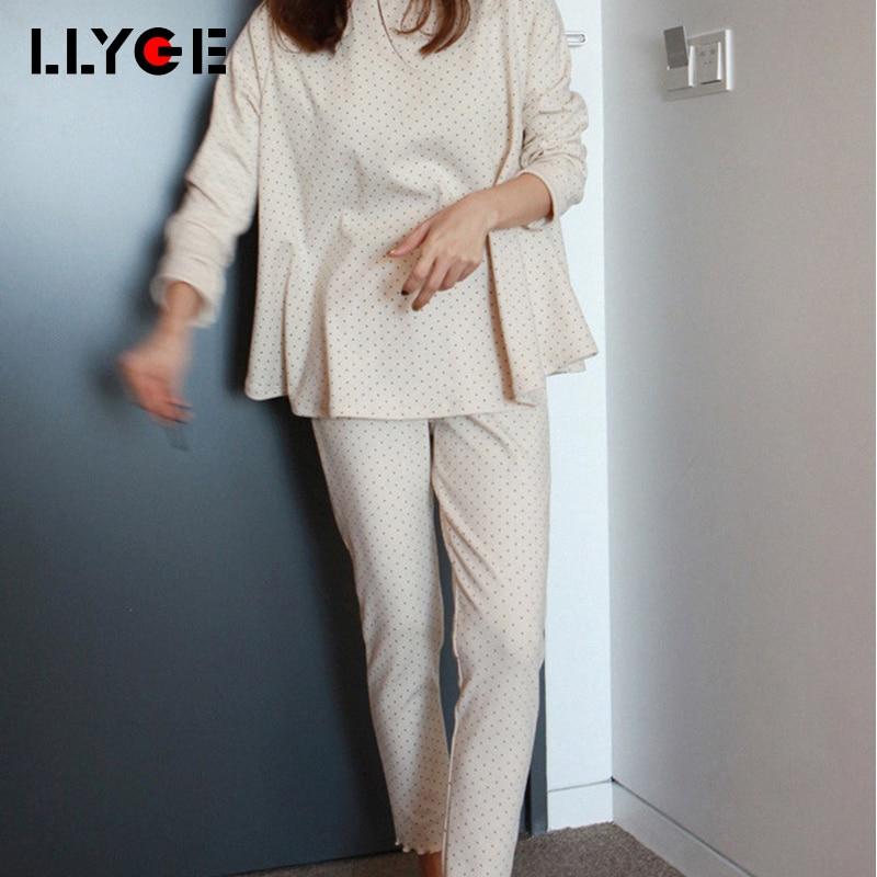 LLYGE Women 2 Piece Polka Dot Cotton   Pajama     Sets   2018 Autumn Soft Homewear Long Sleeve Pyjama Women's Casual Loose Sleepwear