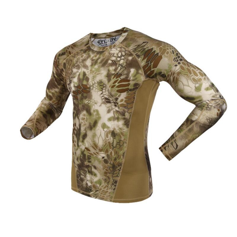 Summer Long Sleeve Military Camouflage T-shirt Men Tactical Army Combat T Shirt Quick Dr ...