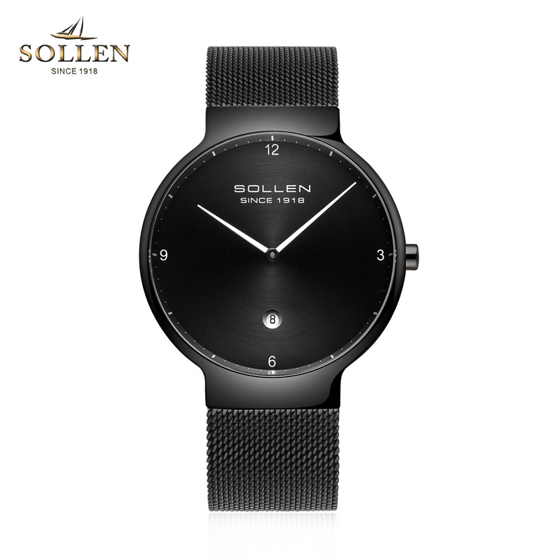 SOLLEN Brand Ultra Thin Watches Men Quartz Stainless Steel Watches Waterproof Fashion Casual Men Wristwatches Clock