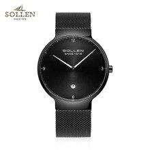 SOLLEN Brand Ultra Thin Watches Men Quartz Stainless Steel Watches Waterproof Fashion Casual Men Wristwatches Clock 2017 Hot