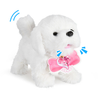 Lovely Dog Stuffed Plush Toys Electronic Dog Doll Shake The Tail Stand Walk Best Gifts For Kids Girls Boys(Bichon Frise)