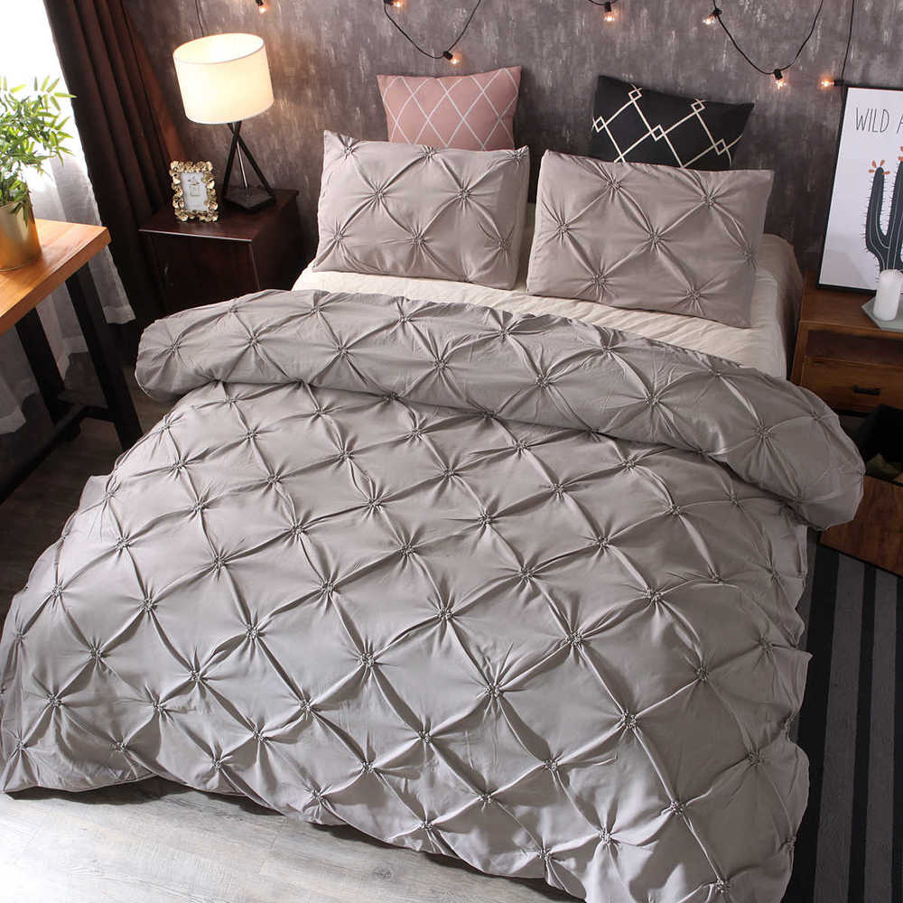 2/3pcs Luxury Duvet Cover Set Pinch Pleat White/Black/Grey/Red/Blue Bedding Sets Twin/Full/Queen/King Size (No Filling,No Sheet)