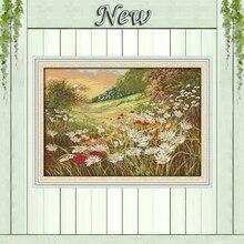 Дейзи красивые цветы пейзаж живопись Счетный напечатаны на холсте DMC 14CT 11CT DMS вышивки крестом вышивать комплекты рукоделие Наборы для ухода за кожей