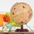 32 cm Antiguo Globe Lámpara de Mesa Escritorio de Oficina del Hogar Decoración Estudio Docencia Earth Globe Luces de Mapa de La Geografía Mundial Regalos De Madera Base