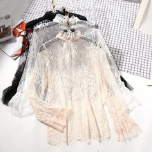 JOYINPARTY Lace See-through Women Blouse Summer Ruffled Neck Butterfly  Sleeve Sexy Ladies Tops Flower Back Shirts Night Club Top e943a637ac48