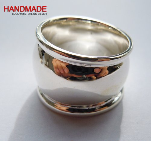 Solid 925Sterling Silver Mens 14*18mm Plain Wide Cigar Band Ring
